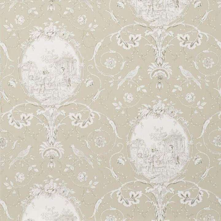 La Fontaine Charcoal/Taupe behang Braquenie Selected wallpapers by OOSTENDORP