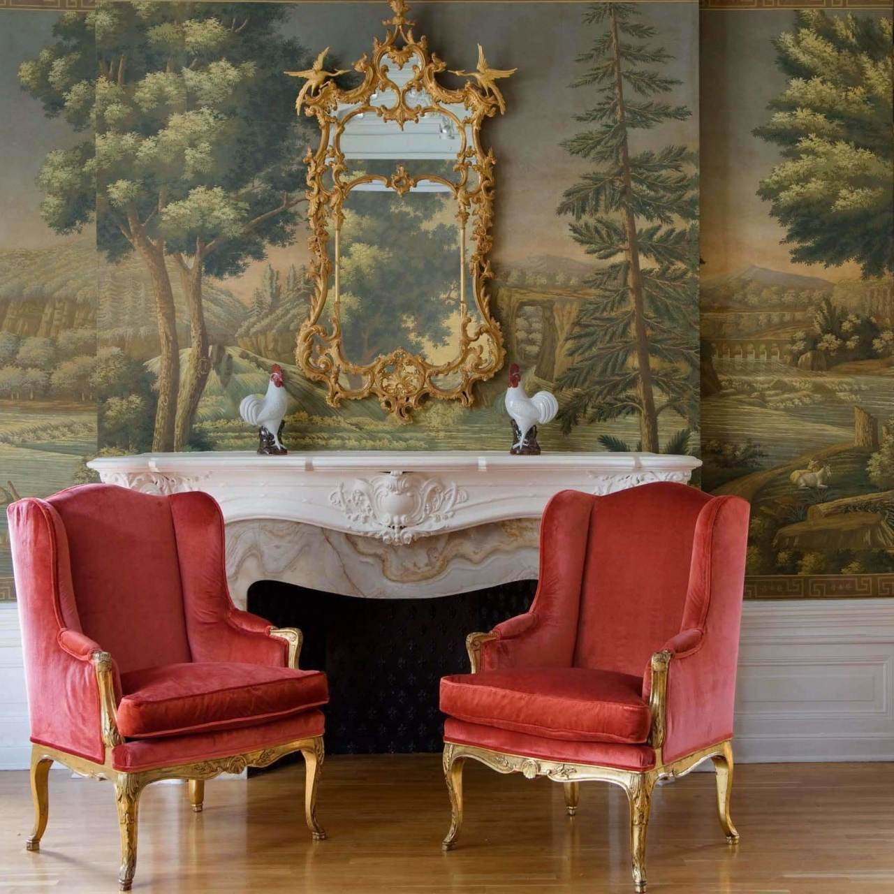 North American River Views Azure behang De Gournay Selected wallpapers by OOSTENDORP