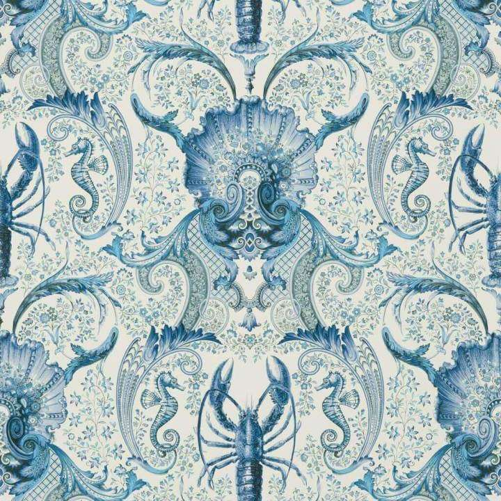Coquillages et crustaces Outremer behang Pierre Frey Selected wallpapers by OOSTENDORP