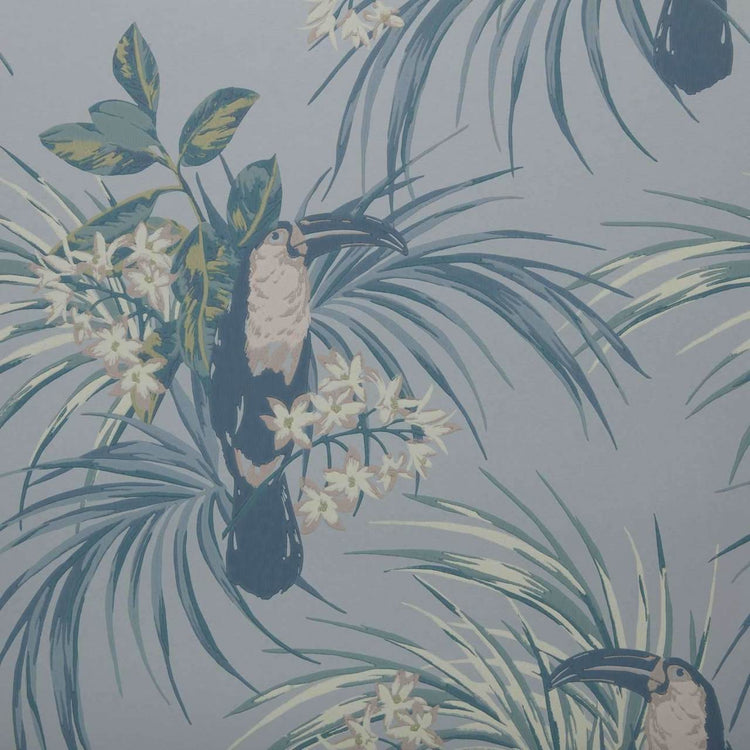 Le Toucan Pale Blue Behang 1838 wallcoverings Selected wallpapers by OOSTENDORP