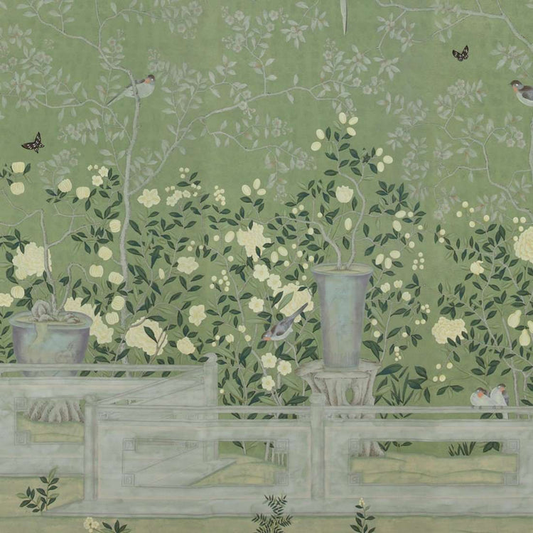 Temple Newsam Special on Moss Green Williamsburg behang De Gournay Selected wallpapers by OOSTENDORP