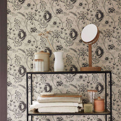 Woodblock Mono behang Little Greene Selected wallpapers by OOSTENDORP