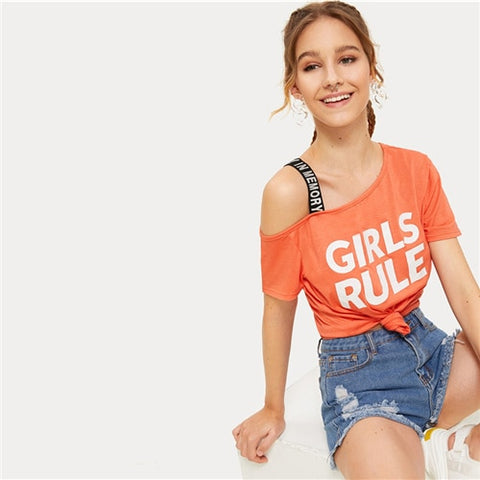 Orange Letter Print Open Shoulder Tee Women Summer 2019 Cut Out Asymmetrical Neck Short Sleeve Casual T Shirts Tops