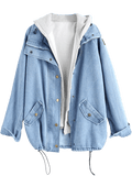 Button Up Denim Jacket with Hooded Vest
