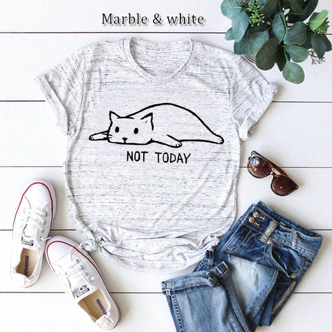 Not Today Shirt Cute Slack Cat Cartoon Printed Short Sleeve Cotton T Shirt