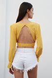 V neck sexy crop top women Backless button up flare sleeve solid short top 2018 Summer ruffle ruched casual tank tee