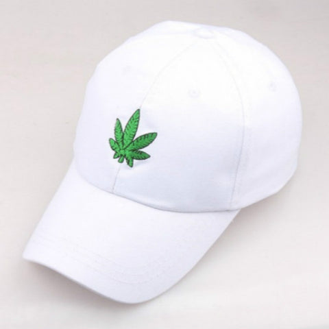 Black White Maple Leaf Cap For Women Embroidery Weed Baseball Cap Hip Hop Adjustable Men Strapback Hat