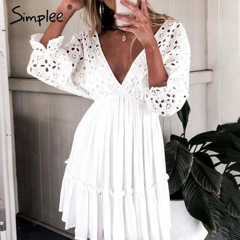 Simplee Elegant v neck embroidery women dress Ruffle pleated cotton lace up summer dresses Casual sexy hollow out dress festa