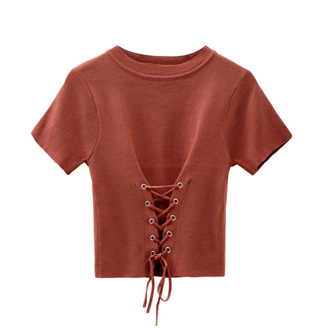 Women O-neck Knitted Short Sleeve Solid Lace Up Cropped T-shirts Girls Knitting Elastic Tees Crop Tops