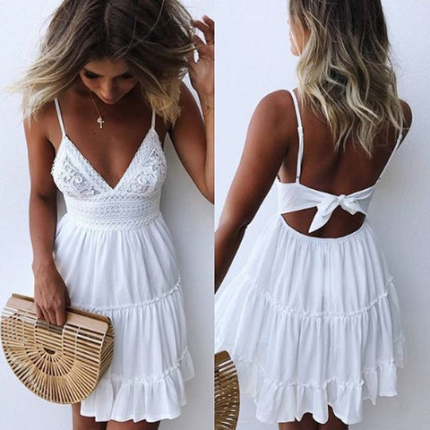 Summer Ladies Bohemian Beach Sexy Spaghetti Strap Deep V-neck Dress Casual Sleeveless Backless Bow Lace Patchwork Dresses