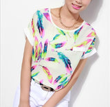 Women Feathers Chiffon Blouse Top Casual Short Sleeve Loose Shirt