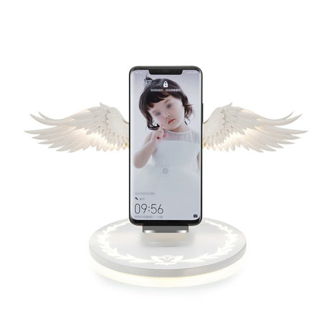 10W Wireless Charger Angel Wings Night Light Mobile Phone Wireless Charger for Android Apple USB Fast Charge with Night Light