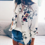 Women Fashion Ribbed Trim Bomber Jacket Casual Zipper Up Flower Printed Baseball Coat Ladies Autumn Outwear Women Tops White Red