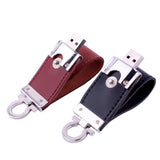 Metal keychain pendrive 8GB 16GB 32GB 64GB Leather USB Flash Drive Pen Drive Pendriver flash Memory Card memory stick