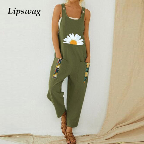 Women Print Cotton Linen Retro Jumpsuit 2020 Summer Elegant Button Strappy Backless Bodysuit Sexy Pocket Loose Trousers Romper
