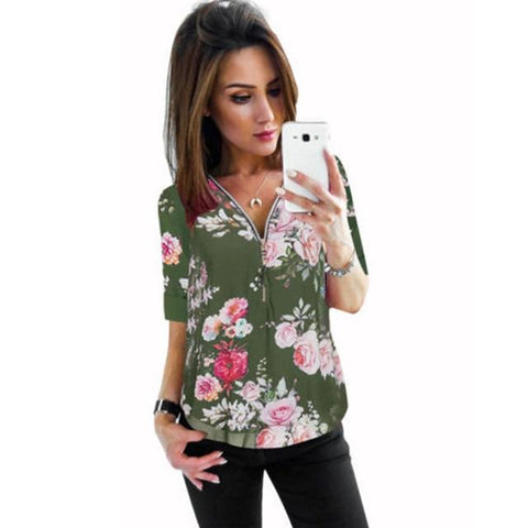 Zipper Short Sleeve Floral Printed Blouse