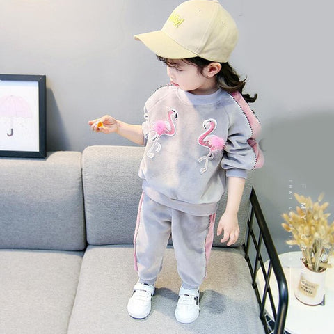 Babyinstar Baby Girls Gold Velvet Set 2018 Autumn Cartoon Swan Hairball Appliques Tops + Pants Suit Girls Clothes Toddler Sets