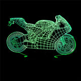 Creative Motorcycle Model 3D Illusion Night Light LED Lamp USB Touch 7 Color Changing Table Decoration Lights Gift
