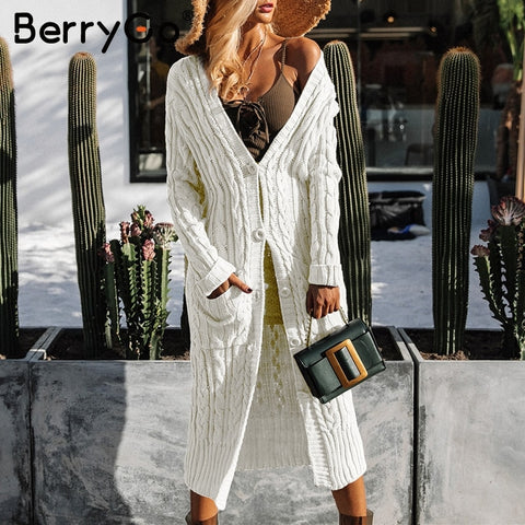 BerryGo Long sleeve warm cardigan female Knitting long cardigan sweater women jumper White pocket pull knit sweater shirt pure
