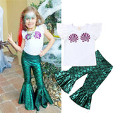 Toddler Girl Clothes Kids Baby Girl Mermaid Blouse Top T-shirt Dress Legging Pant Outfit Set Cotton O-neck Baby Girl Clothes