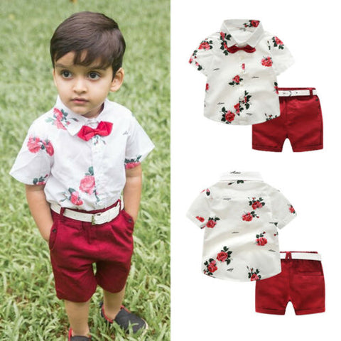 Summer Toddler Kids Baby Boy Clothes Short Sleeve Floral Tops T-shirt+Shorts Pants 2Pcs Gentleman Formal Suit Outfits