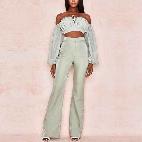 Adyce New Arrivals Two Pieces Sets Long Sleeve Short Top& Long Pants Hot Sale 2 pieces Women Elegant Fashion Casual Sets