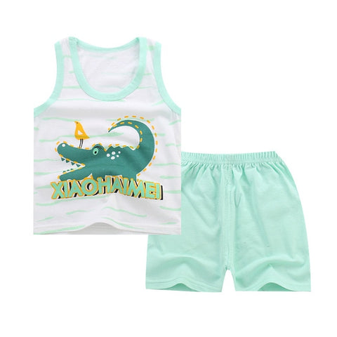 Summer Baby Boys Girls Cartoon Vest Top Shorts Pants Set Clothes Kids Cute Cartoon 2PCS Children Pajamas Girls Clothing Sets