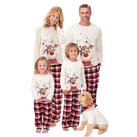 M-3XL 6M-9Y  Family Christmas Pajamas XMAS Deer Print Adult Women Kids Family Matching Clothes Christmas Pajamas Family Set