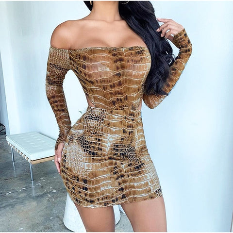 NewAsia Crocodile Print Two Piece Set Women Autumn Sexy Off Shoulder Party Skirt Set Long Sleeve Animal Print Two Piece Outfits
