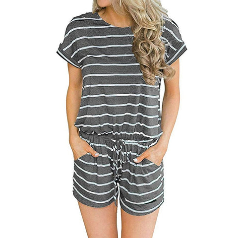 Women's Summer Striped Jumpsuit Shorts Casual Loose Short Sleeve O-neck Playsuits Female Rompers Pockets Overalls Plus Size K005