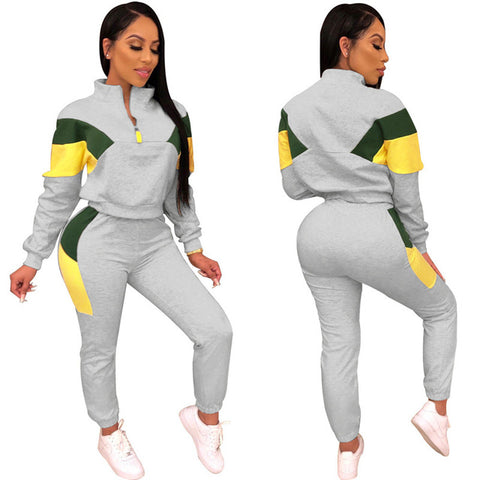 Winter/Spring Women Sport 2 Piece Tracksuit Color Patchwork Full Sleeve Turn-down Collar Sweatshirt Pants Casual Sweatsuit Outfits
