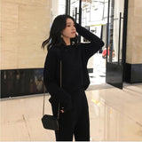 Cashmere Knitted Women's Sweater Pants Suit.  Autumn/Winter/Spring.. Ankle-length Sports Suits.   Batwing Sleeve 2 Piece Sets