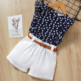 Menoea Girls Clothing Sets 2019 New Style Summer Children Clothes Cute  Dots Lace + Bow Short Pants 2pc Kids Clothes Sets