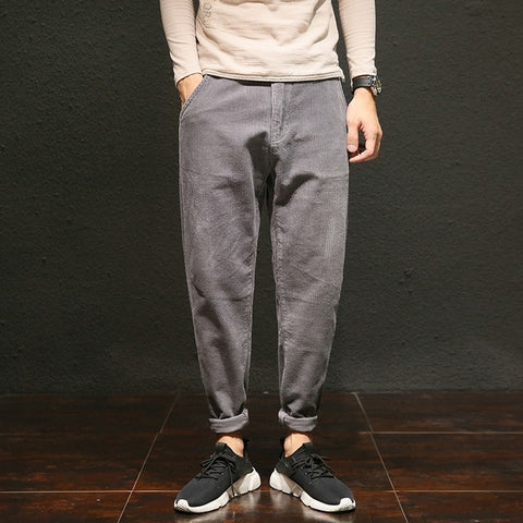 Spring And Autumn New Basic Japanese Retro Loose Casual Corduroy Pants Plus Fertilizer To Increase Gray Black / Brown