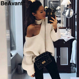 BeAvant Cold shoulder halter mohair knitted sweaters female Casual autumn winter sweater women Knit  pullover jumper pull femme