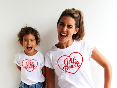 1pcs Mom Baby Girl Power Matching Shirt T-Shirt Family Outfit Clothes Summer Short Sleeve Casual T Shirt Family Look