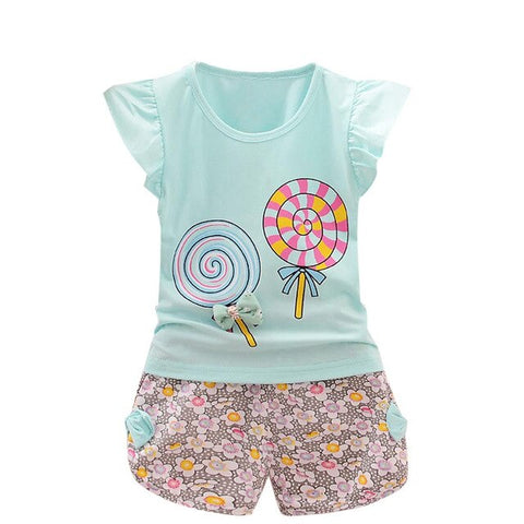 Summer Cute 2PCS Toddler Kids Baby Girls Princess Outfits Lolly T-shirt Tops+Short Pants Clothes Set   HOOLER