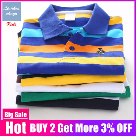 100%Cotton Polo Shirt Kids Clothes Tops Color Stripes Turn-down Collar Autumn Long Sleeve Polos Baby Boys Shirts Teen 3T-15T