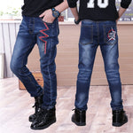 Kids Casual Trousers Clothes Boys Slim Straight Jeans Young Children Fashion Denim Long Pants Elastic Waist Pants4-12year