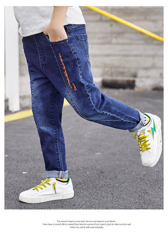 IENENS Children Boys Clothes Straight Jeans Long Pants Kids Baby Denim Clothing Cowboy Trousers Young Boy Casual Stretch Jeans