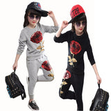 Girls Clothes Rose Sequin Applique Long-sleeved T-shirt Pants Sports Two-piece 3-8 year Child Quality.  Hot Sale kids' wear
