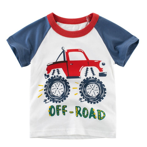 1-10T Kids Boys T-shirt New Excavator Design Baby Cotton Tops Summer Clothing Toddler Fashion T-shirt Cute Children Play Clothes