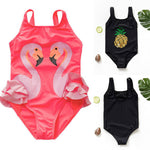 Hot Selling Kids Baby Girls Swimwear Bow Bikini Swimsuit Cartoon Pattern Swimming Bathing Suit Beach Costume