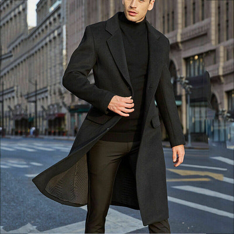 Autumn And Winter Solid Windbreaker Jacket 2020 New Men's Coat  Fashion Long Trench Coats Lapel Business Overcoat Parka S-2XL