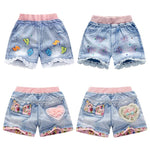 Summer Baby Girl Ripped Jeans Kids Girl Short Jeans Pants Floral Pocket Lace Denim Pant Baby Jeans Teen Girls Clothing 2-12years