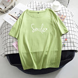 Hirsionsan Letter Printed T Shirt Summer Cotton Women Tshirts Korean Sweet Ladies Tees Comfortable Oversized Black Female Tops