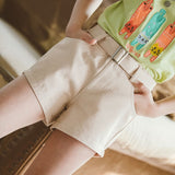 Summer 2020 New Teenage Cotton Shorts with Belt Summer Denim Shorts for Girls Teens Girl Short 3 4 5 6 7 8 9 10 11 12 Years Kids