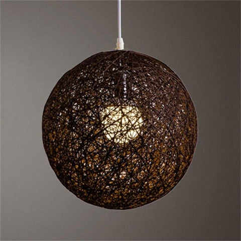 HiMISS Round Concise Hand-woven Rattan Vine Ball Pendant Lampshade Light Lamp Shades Light Accessories