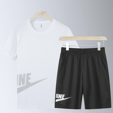 Casual Male Tracksuit Clothing Summer Men Set Fitness Suit Sporting Suits Short Sleeve T Shirt + Shorts Quick Drying 2 Piece Set