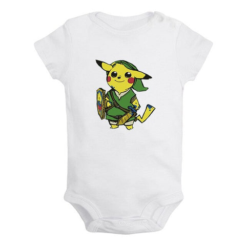 Playfully Cheerful Ash and Pikachu joy of playing Design Newborn Baby Boys Girls Outfits Jumpsuit Print Infant Bodysuit Clothes